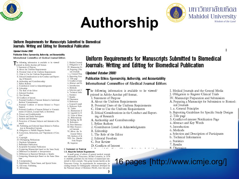 Authorship 16 pages [http://www.icmje.org/]
